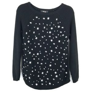 Style & Co Black & White Stars Knit Sweater PS